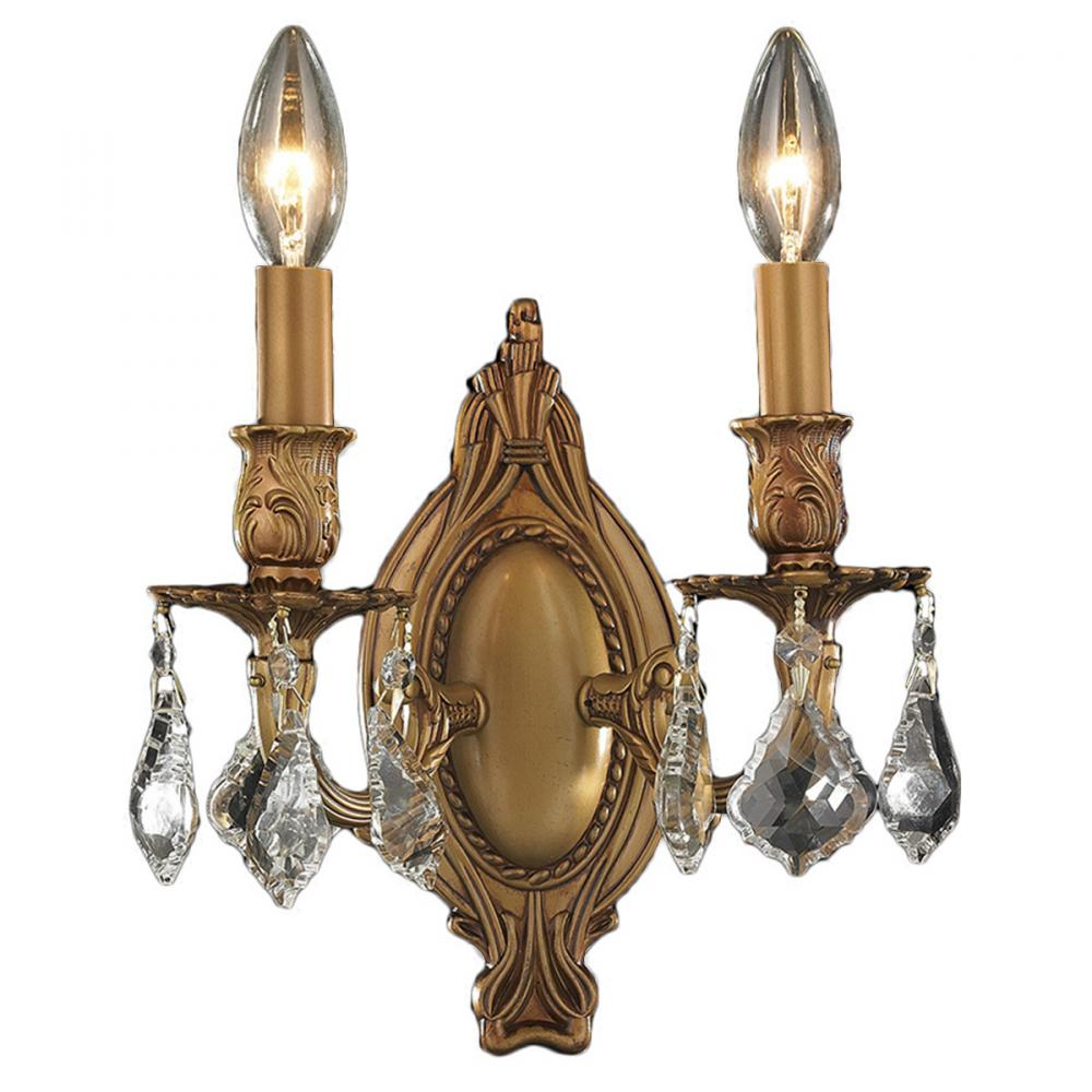 Windsor Collection 2 Light French Gold Finish Crystal Candle Wall ...