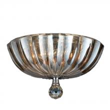 Worldwide Lighting Corp W33141C12-GT - Mansfield Collection 3 Light Chrome Finish and Golden Teak Crystal Bowl Flush Mount Ceiling Light 12