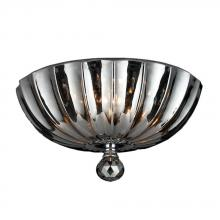Worldwide Lighting Corp W33141C12-SM - Mansfield Collection 3 Light Chrome Finish and Smoke Crystal Bowl Flush Mount Ceiling Light 12""