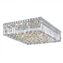 "Worldwide Lighting Corp W33518C16 - Cascade Collection 6 Light Chrome Finish and Clear Crystal Flush Mount Ceiling Light 16"" L x 16&"