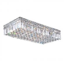 "Worldwide Lighting Corp W33530C24 - Cascade Collection 6 Light Chrome Finish and Clear Crystal Flush Mount Ceiling Light 24"" L x 12&"