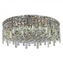 "Worldwide Lighting Corp W33608C20 - Cascade Collection 6 Light Chrome Finish and Clear Crystal Flush Mount Ceiling Light 20"" D x 7.5"