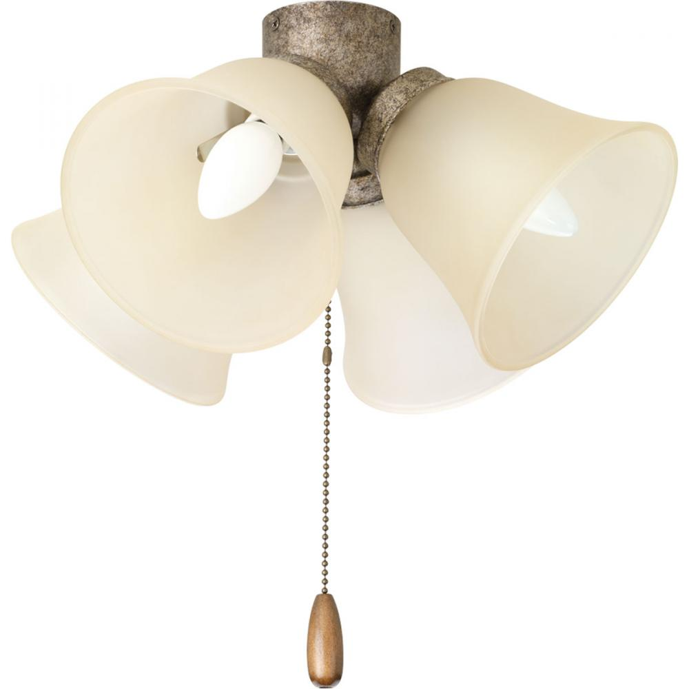Four-light universal fan light kit with four light umber etched glass shades and a refreshing pebble