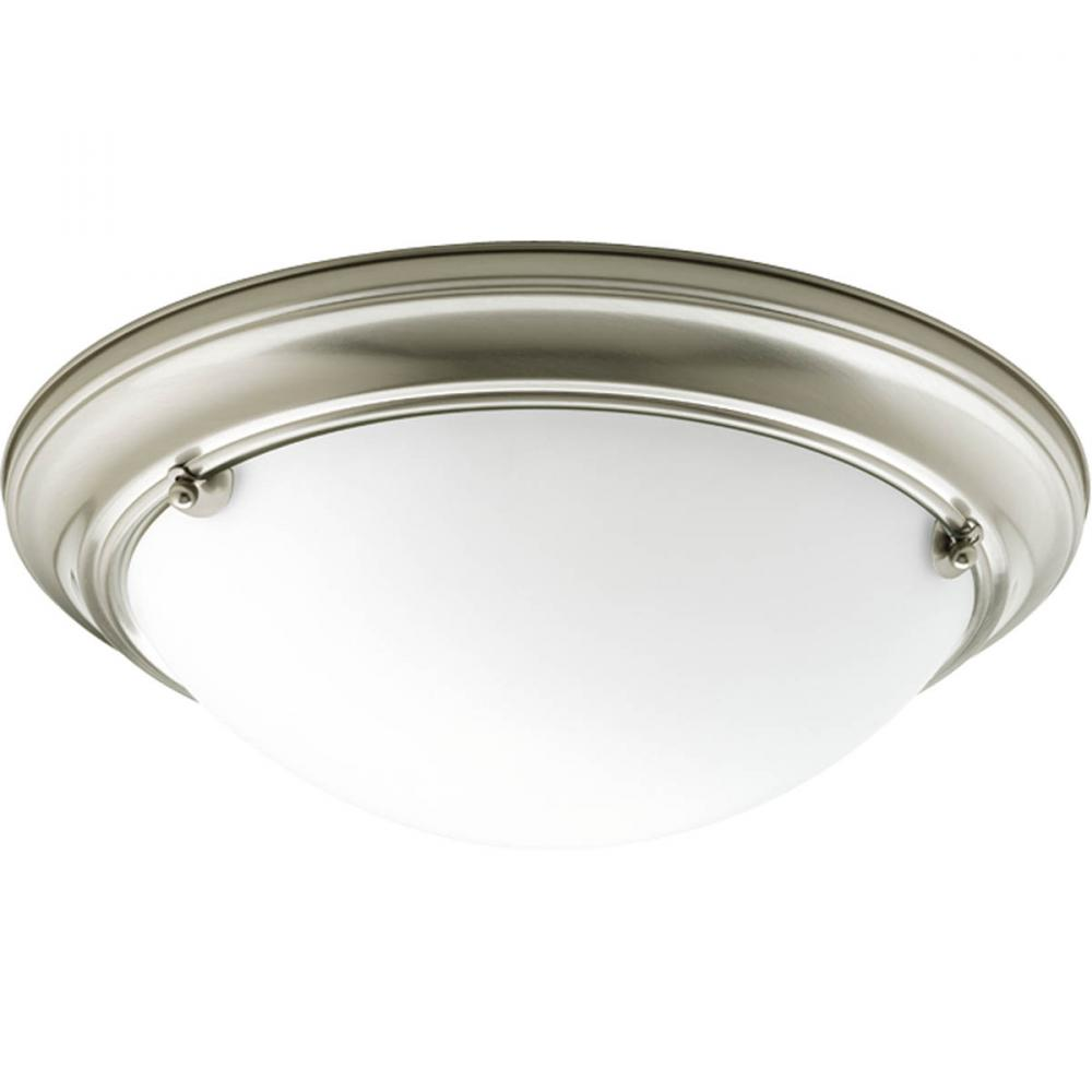 Two Light Brushed Nickel Satin White Glass Bowl Flush Mount