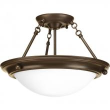 Progress P3492-20EB - Two Light Antique Bronze Satin White Glass Bowl Semi-Flush Mount