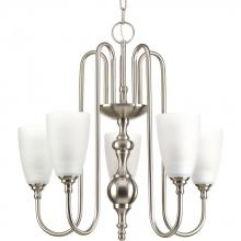 Progress P4235-09 - Five-light chandelier finished in brushed nickel with etched glass.