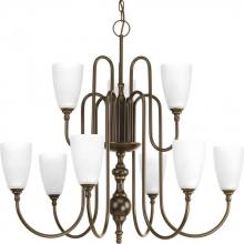 Progress P4236-20 - Nine-light, two-tier chandelier finished in antique bronze with etched glass.