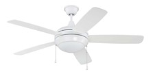 "Craftmade HE52W5-CFL - Helios CFL 52"" Ceiling Fan with Blades and Light in White"