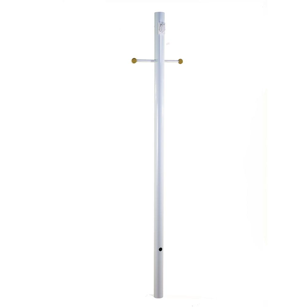 white smooth with photocell crossarm and convenience outlet lamp post. Black Bedroom Furniture Sets. Home Design Ideas