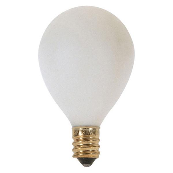 10 watt G12 1/2 Pear Incandescent; Satin White; 1500 average rated hours; 60 lumens; Candelabra base