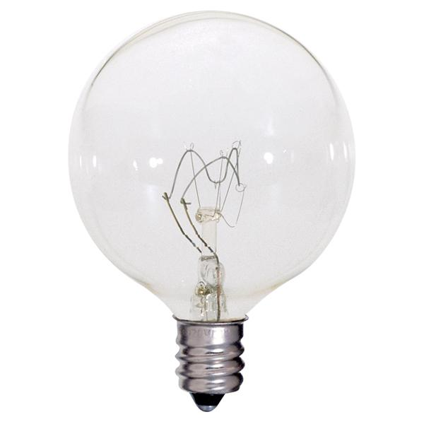 25 watt; G16 1/2; Clear; 2500 average rated hours; 212 lumens; Candelabra base; 120 volts