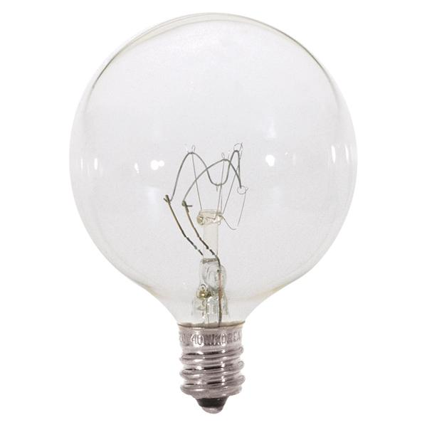 40 watt; G16 1/2; Clear; 2500 average rated hours; 380 lumens; Candelabra base; 120 volts