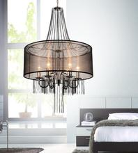 Crystal World 5475P20C-6 Brown - 6 Light Chrome Drum Shade Chandelier from our Amelia collection
