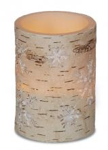 Deco Breeze LED5508 - LED Candle - 3x4 Birch Snowflakes w 5hr Timer