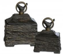 Uttermost 19601 - Uttermost Birdie Metallic Gray Boxes, Set/2