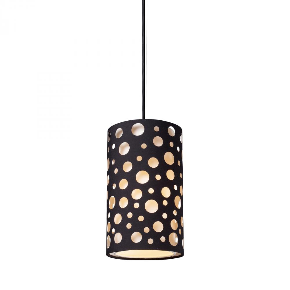 One Light Matte Black Drum Shade Mini Pendant